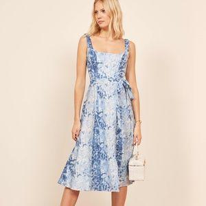 Reformation Garten dress blue shibori linen XS